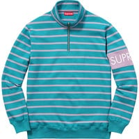 Supreme: Striped Half Zip Sweat - Teal