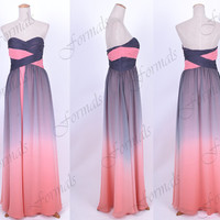 Strapless Sweetheart Long Pink and Gray Prom Dresses, Evening Gown, Wedding party Dresses, Formal Gown