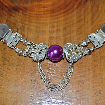 Vintage Collar Clip, Sweater Collar Holder, Silvertone And Purple Sweater Clip