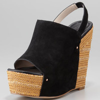 Open-Toe Suede Wedge, Black