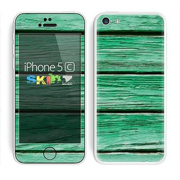The Green Wide Wood Planks Skin for the Apple iPhone 5c
