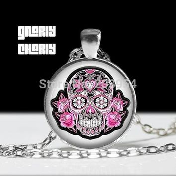 The Nightmare Before Christmas Steampunk movie SUGAR SKULL pink Necklace 1pcs/lot bronze silver Pendant dr who mens 2017 chain