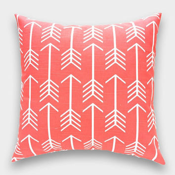 15% OFF FALL SALE Coral Pink Arrows Decorative Pillow Cover. 16x16, 18x18, 20x20 Euro or Lumbar. Coral Pink. Throw Pillow Cover.