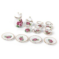 15 Pieces Porcelain Tea Set Dollhouse Miniature Foods Chinese Rose Dishes Cup Pretend Play Kitchen Toys