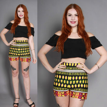 60s Bright HIGH WAISTED Cotton SHORTS / 1960s Ethnic Boho Pin-Up Shorts
