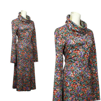 Cowl Neck Dress / 1970s Bohemian Floral Print Turtleneck Dress Long Sleeve Midi Dress Womens Hippie Boho Clothing / size M L XL
