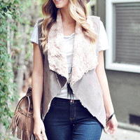 Suede and Faux Fur Vest