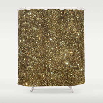 Gold Glitter Shower Curtain by NatalieBoBatalie