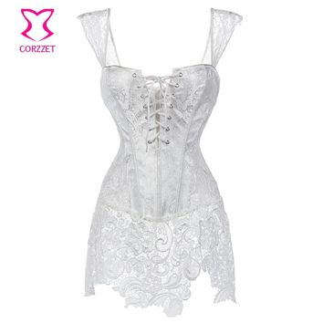 Corzzet White Steampunk Overbust Corset And Bustiers Waist Slimming PVC&Leather Lace Plus Size Sexy Costume Gothic Corset