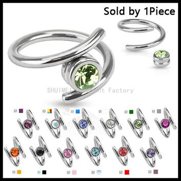 1PC Surgical Steel With Gem Ear Cartilage Piercing Helix Twister Ring Spiral Captive Circular Bead Ring Piercing Jewelry 14g,16g