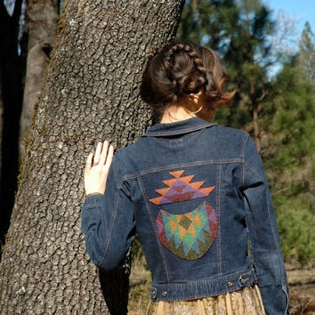 Size Medium.... Denim Jacket... Jean Jacket With Handmade Appliques... Handmade OOAK Upcycled... COSMIC DUST
