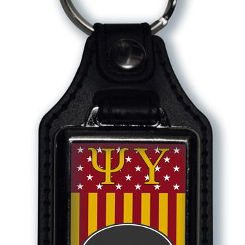 Psi Upsilon US Flag Style Licensed Greek Life Keychain