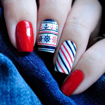 1Sheet Anchor Stripe Nail Water Decals Sticker Nail Art Water Transfer Stickers Free Shipping