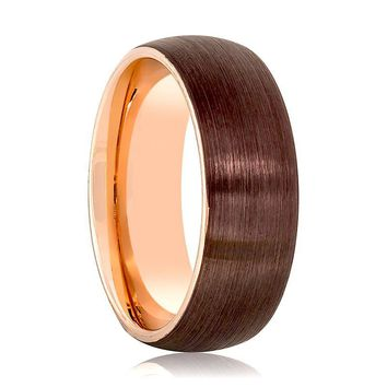 Aydins Rose Gold & Brown Brushed Mens Tungsten Wedding Band 8mm Domed Center Tungsten Carbide Wedding Ring
