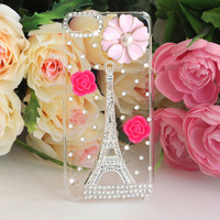 3D Silver Eiffel Tower Bling Diamond Hard Back Case For Apple iPod touch 5th Gen