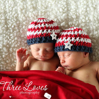Crochet Pattern for Patriotic Stars & Stripes Beanie Hat - 6 sizes, baby to adult - Welcome to sell finished items