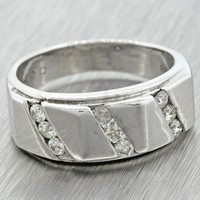 $2500 Modern Men's Estate 14k Solid White Gold 0.50ctw Diamond Band Ring