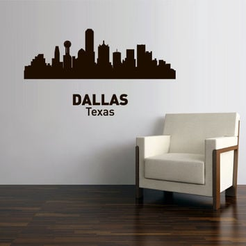 Wall Vinyl Sticker Decals Decor Art Bedroom Design Mural Words Sign Town City Skyline Dallas Texas (z3051)