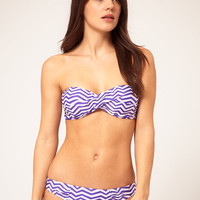 ASOS Twist Bandeau Bikini in Chevron Print at ASOS