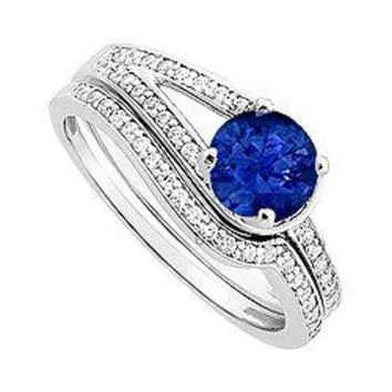 Sapphire and Diamond Engagement Ring with Wedding Band Set : 14K White Gold - 0.85 CT TGW