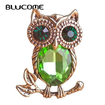 Blucome Big Eyes Parrot Brooch Christmas Gifts Pins Corsage Owl Pins Suit Retro Animal Brooches For Women Vintage Bird Brooch