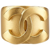 """Chanel Gold Toned Metal """"CC"""" Ring"""