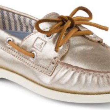 Sperry Top-Sider Authentic Original Metallic 2-Eye Boat Shoe Platinum, Size 8M  Women's Shoes