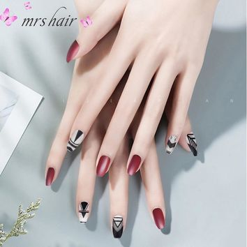 ballet nail art sticker Manicure products fake nail patch  24 piece short nail patch