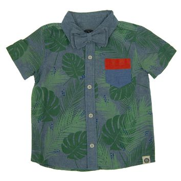 Tropical Forest Bow Tie Baby Button Down Shirt by: Mini Shatsu