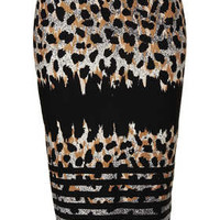 Striped Animal Print Tube Skirt