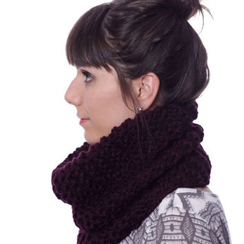 SCARF - COWL Scarf - Knit Scarf Cowl in Eggplant Purple - Chunky Knit Scarf - Infinity Scarf