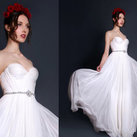 Annie Wedding Gown Silk Hand Gathered Bustier Gown with Crystal Sash