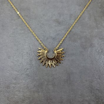 Tribal Bib Gold Necklace