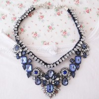 Braided rope Luxurious Drop Blue Flowers Necklace