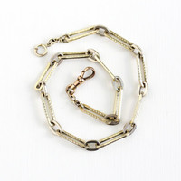 Antique Yellow & White Gold Filled Pocket Watch Chain - Vintage Edwardian 1910s Two Tone Swivel Clip Spring Clasp Paperclip Panel Jewelry