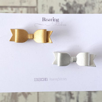 Gold hairbow and silver hair bow - mini faux leather metallic baby hair clips