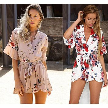 Floral Print Casual Sexy Rompers