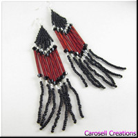 Native American Style Beadwork Long Seed Bead Earrings Red and Black Wild Thing