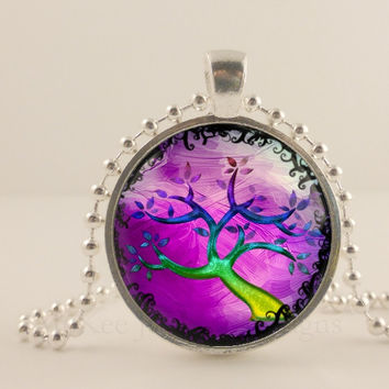 "Neon purple, yellow tree, 1"" round glass and metal Pendant necklace Jewelry."