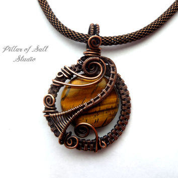 Wire Wrapped pendant, Tiger Eye gemstone, copper jewelry, wire wrapped jewelry handmade, woven wire jewelry, pendant necklace