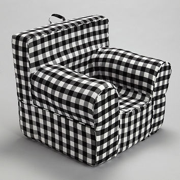 Black Gingham Chair Cover for Foam Childrens Chair