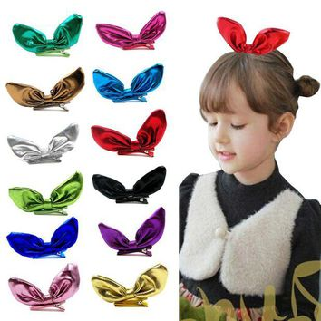LMF78W Delicate hair accessories headband  12PCS Big Bow Knot Children Girl Barrettes Rabbit Ear Hair Accessories Headwear W20