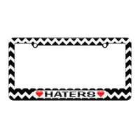 Haters Love with Hearts - License Plate Tag Frame - Black Chevrons Design