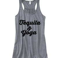 Tequila And Yoga Graphic Tank Top, Flowy Tank Top, Workout Top, Gym Tank, Workout, Gym Vest
