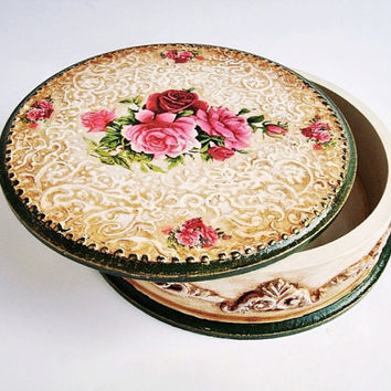 Vintage Storage Tin round box with roses, Jewelry box, storage box, Wooden Jewelry Box Decoupage box Trinket Box for ring Candy Box Storage