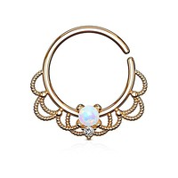 1pc Opal Filigree Bendable Hoop Nose Ring - Septum, Daith, Ear Cartilage- Body Jewelry