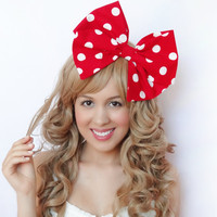 Minnie Mouse Bow Clip Big Bow Red Disney hair Bow Bow Clip Red White Cosplay bow Wedding bow Bridal bow Pinup bow Rockabilly bow hair clip