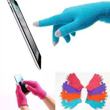 1 pair Useful Adult One Size For Women Men Soft Warm Winter Texting Capacitive Smartphone Knit Touch Screen Gloves