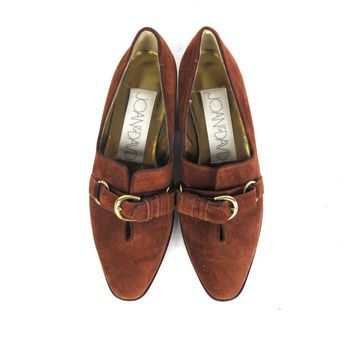 80s Joan & David Flats Brown Leather Flats Gold Buckle Flats Pointy Toe Flats Suede Loafers Leather Slip On Shoes Flat Low Heel Size 5.5