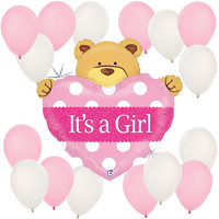 Girl Teddy Bear - Baby Shower Balloon Kit